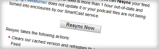 Google FeedBurner Resync Now