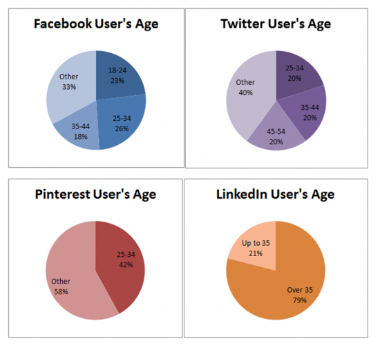 Facebook, Twitter, Pinterest and LinkedIn UK User's Age 2013 Infographic