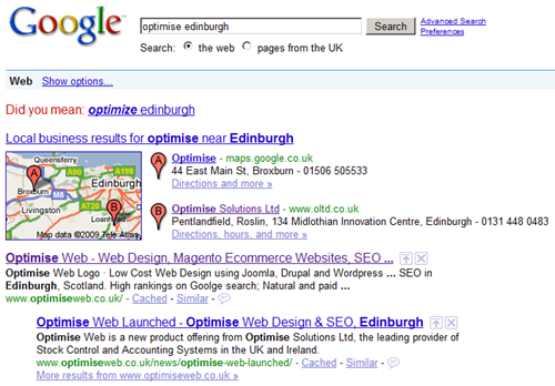 Google Local Business Center results for Optimise Edinburgh