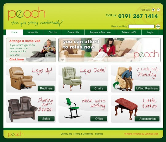 Peach (Chairshop) Website Screenshot