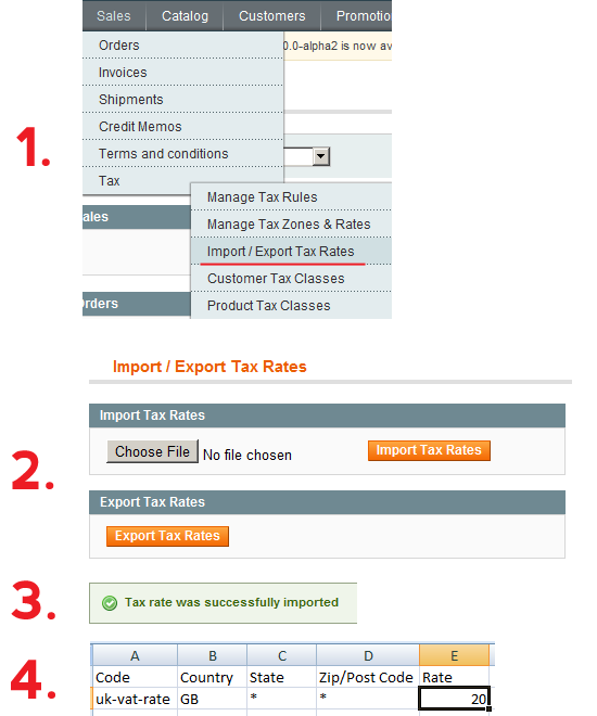 Magento Tax Rates - Import / Export
